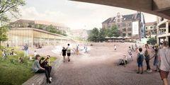 Ny helhedsplan for Toftegårds Plads af Schønherr og Rolvung og Brøndsted Arkitekter