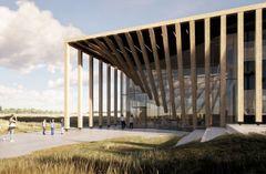 Egetræs-søjler monteres på LIFE Campus facaden