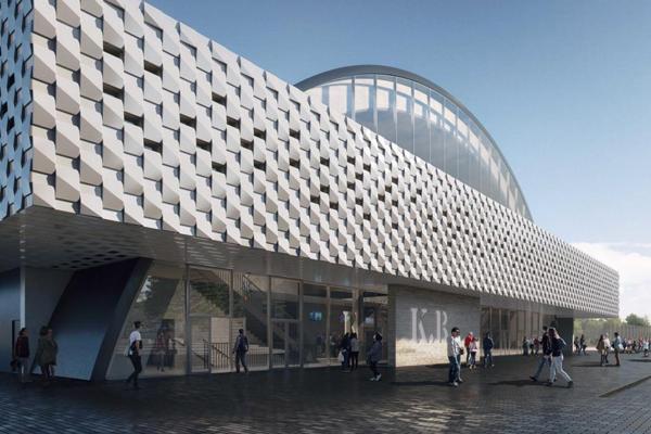 C2Elements teglskaller dekorerer facaden på K.B. Hallen
