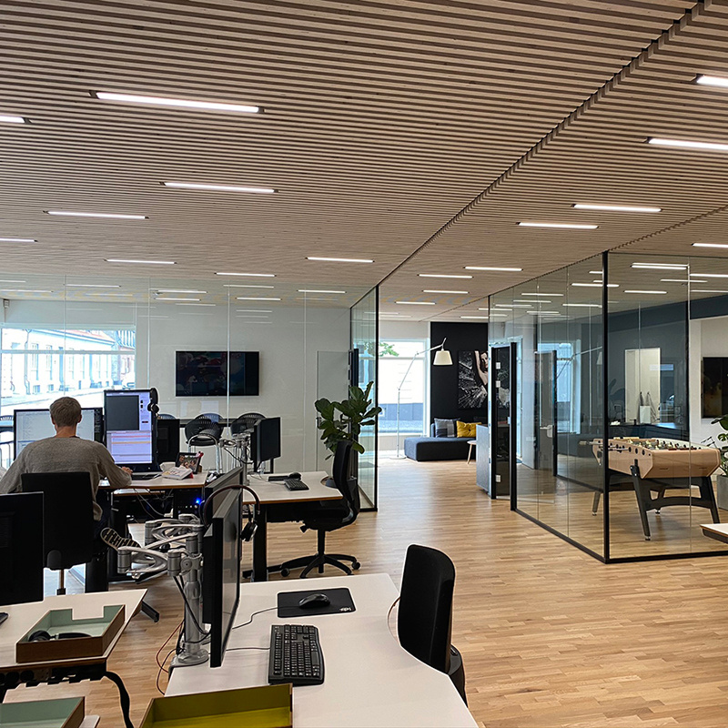 green:ID Square LED lamper hos Tea Solutions, Herning