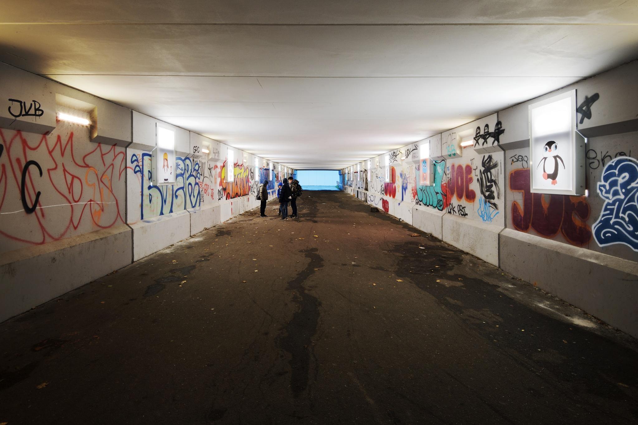 Skoleelever står bag interaktiv tunnel — lysstyring fjerner utryghed