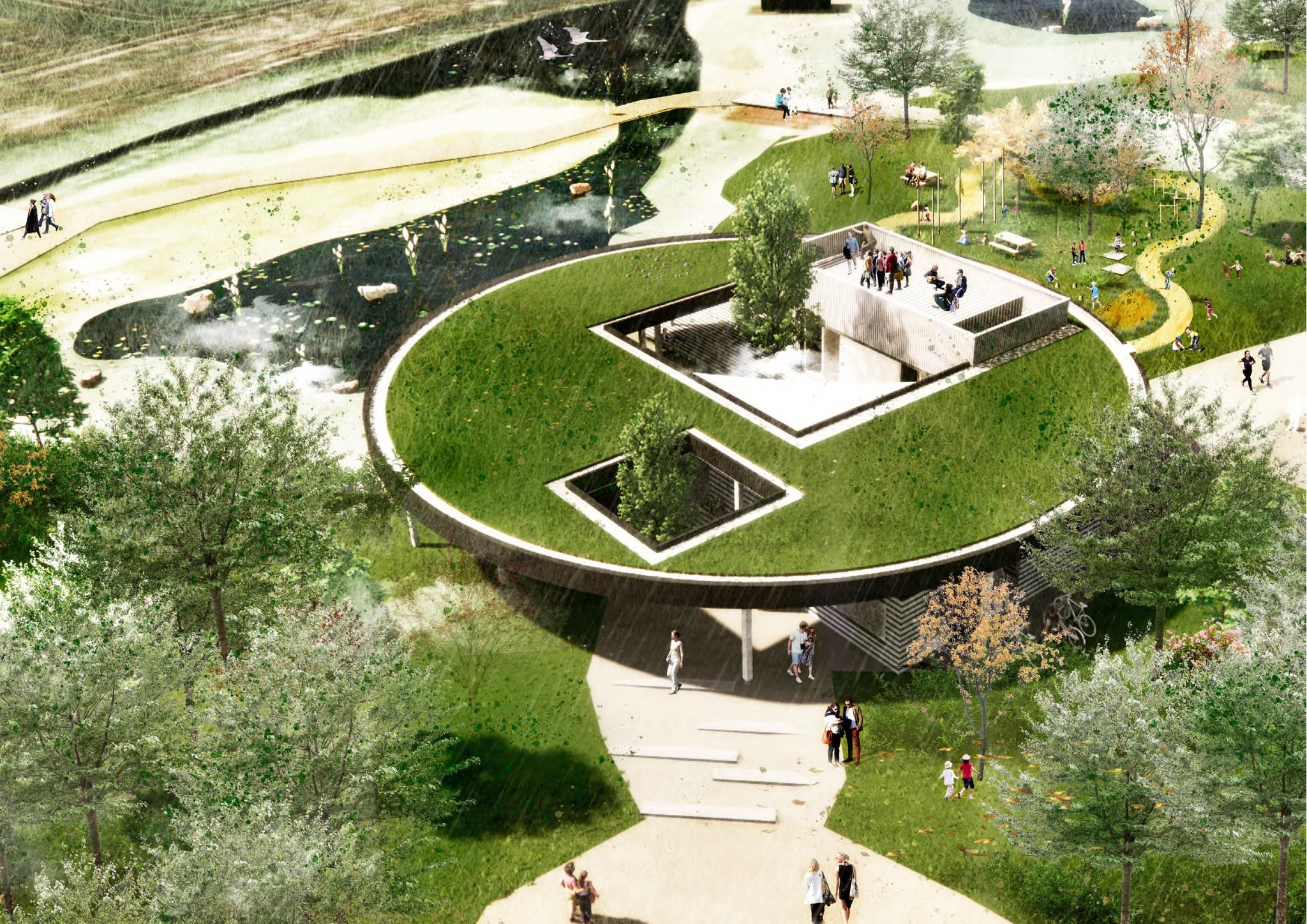 Klyngehuset Kronjylland oppefra CF Moller Architects