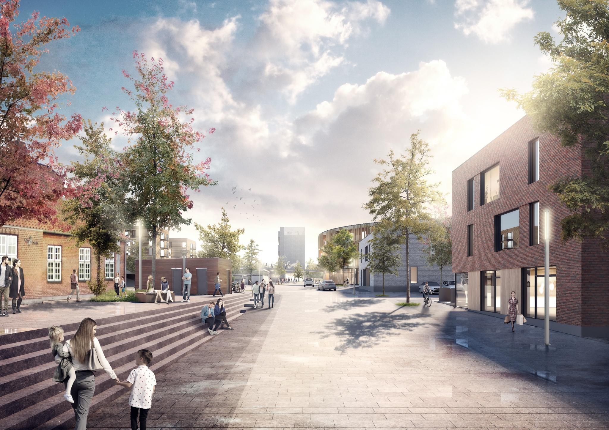 Stationspladsen En ny urban plads udlægges mellem stationen og de nye byhuse_Foto_RUM